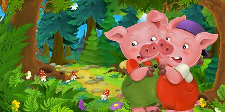 Cartoon fairy tale scene with pig farmers or workers brothers on the meadow in the forest - illustration for children