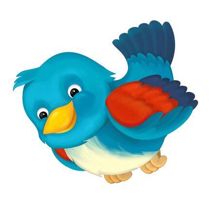 Cartoon exotic colorful bird flying on white background - illustration for children Stockfoto