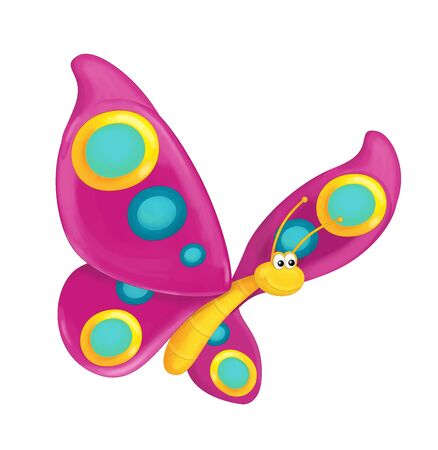 cartoon scene with flying butterfly on white background - illustration for children