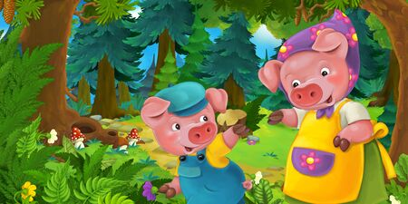 Cartoon fairy tale scene with pig farmer mother and son on the meadow in the forest - illustration for children Stockfoto