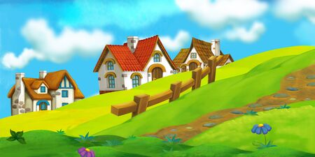 cartoon summer scene with path to the farm village - nobody on scene - illustration for children