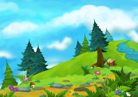 cartoon summer scene with path in the forest with stream - nobody on scene - illustration for children