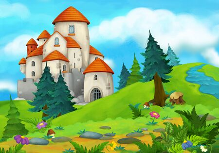 cartoon summer scene with path in the forest with castle - nobody on scene - illustration for children Stockfoto