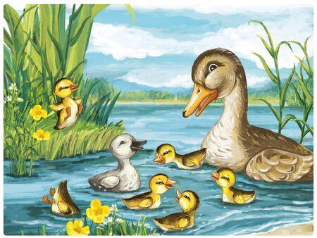 cartoon scene with ducks in nature scene illustration for children