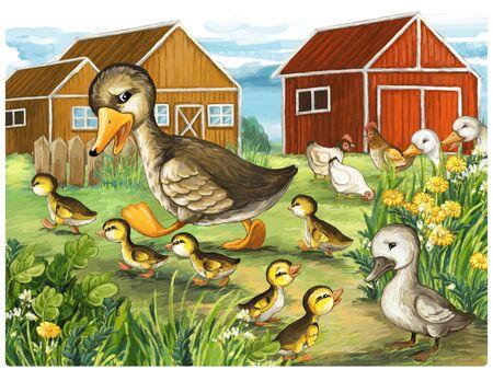 cartoon scene with ducks in nature fairy tale scene illustration for children