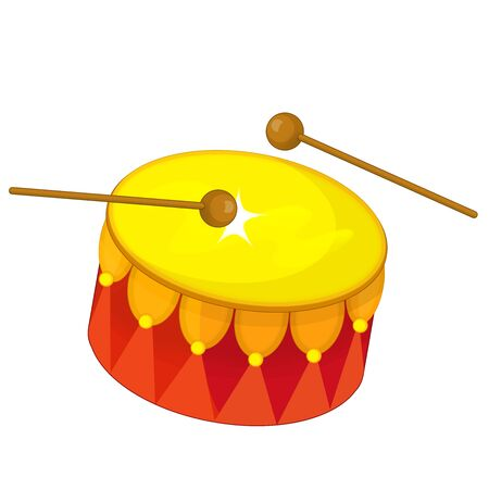 cartoon scene with wooden drum and drumsticks isolated on white background - illustration for children Stock Photo