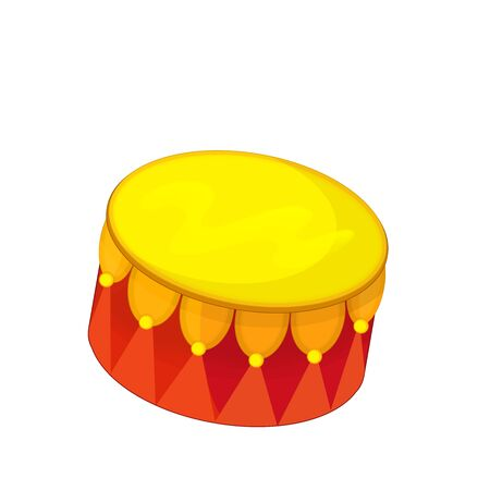 cartoon scene with wooden drum isolated on white background - illustration for children