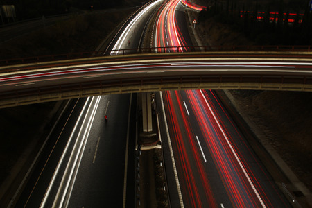 Long exposure shot of highway at night photo
