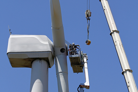 Wind turbine being repaired photo