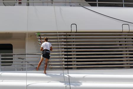 cleaning crew: Luxury yacht maintenance