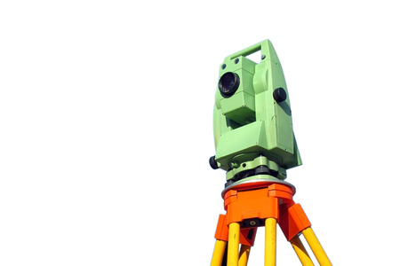 site map: Total station, surveying instrument against blue sky