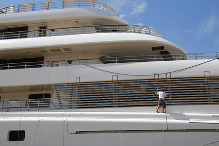 cleaning crew: Luxury yacht moored on harbor