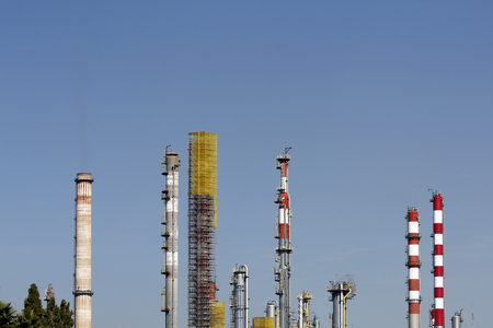 gasoil: Chimneys in a large oil refinery