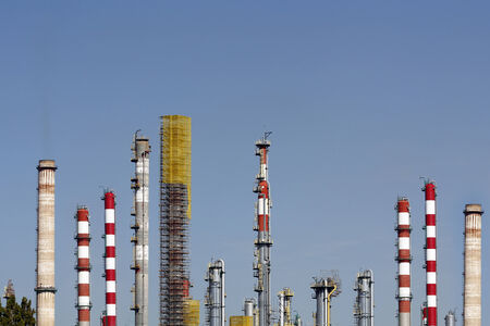 Chimneys in a large oil refinery