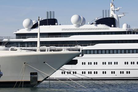 motor yacht: Luxury yacht moored at harbor Stock Photo