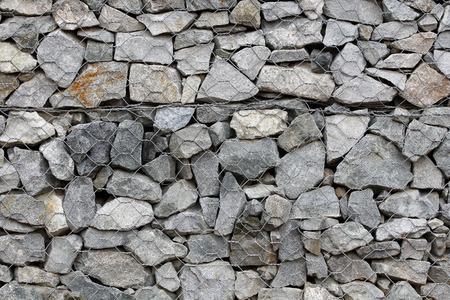 gabion: Rock wall with steel wire, gabion