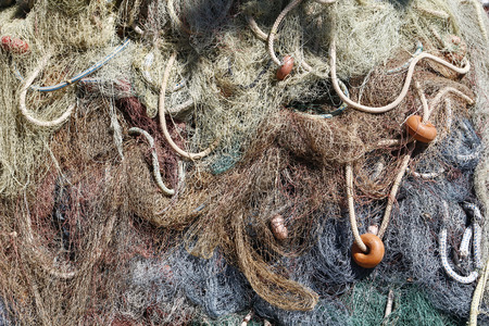Fishing net background, in a commercial port photo