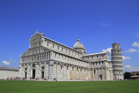 piazza dei miracoli: Piazza dei Miracoli in Pisa with the cathedral and the leaning tower  Stock Photo