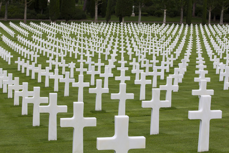 War memorial with white crosses Archivio Fotografico