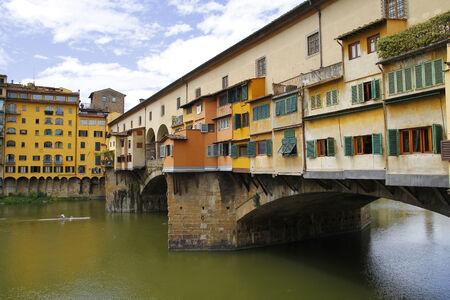 City view of Firenze, the ponte vecchio in the river Arno