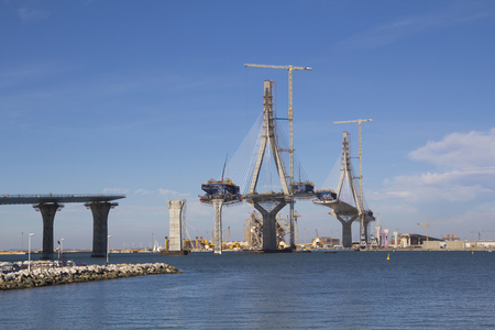 La Pepa bridge on construction, over the sea  in Cadiz, Spain Standard-Bild