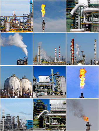 Collage of industrial pictures in the oil refinery photo