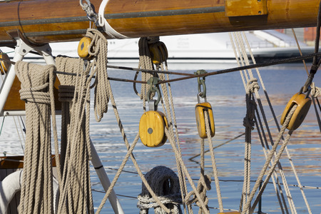 pulleys: Traditional ship detail, with ropes and pulleys