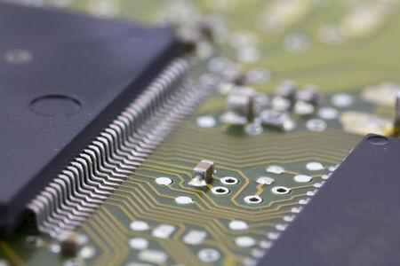 componentes: Los microchips en una placa base, componentes electr�nicos