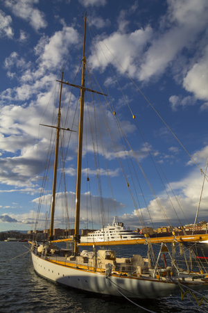 moored: Sailboat moored on harbor