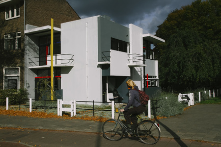 bike cover: UTRECHT, HOLLAND - OCTOBER 18, 2009: The Rietveld Schr�der House in Utrecht, built in 1924 by Dutch architect Gerrit Rietveld. Listed as UNESCO World Heritage Site since 2000