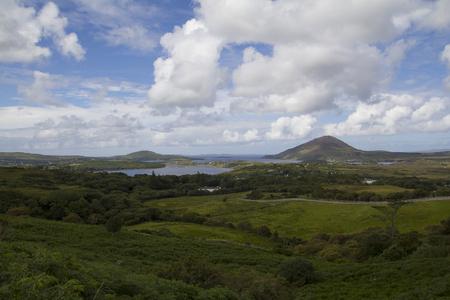 connemara: Green landscape in Ireland, Connemara national park Stock Photo