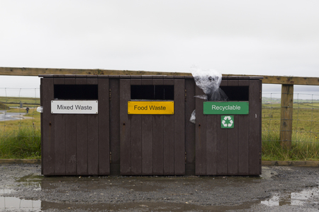 recyclable: Three rubbish bins for mixed waste, food and recyclable