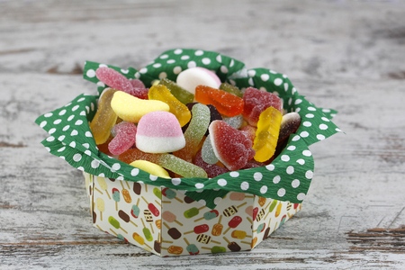 fatten: Sweet candies in a paper box, for packaging