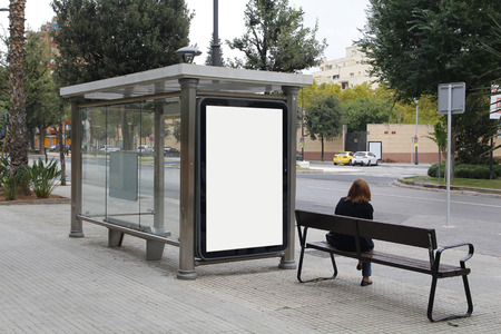 display advertising: Blank billboard in a bus stop, for advertisement at the street