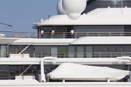 cleaning crew: Luxury yacht maintenance, crew cleaning Stock Photo