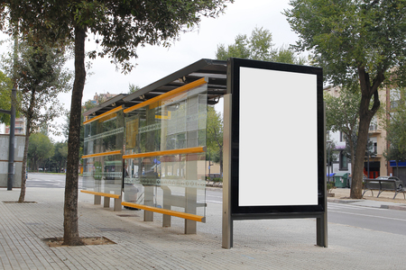 bus background: Blank billboard in a bus stop, for advertisement at the street