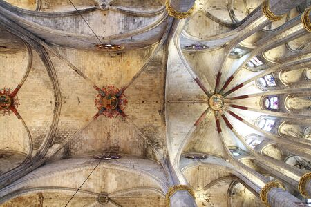 imposing: BARCELONA, SPAIN - DECEMBER 28, 2015:  Santa Maria del Mar, detail of the vault of this imposing church in Barcelona, Spain, built between 1329 and 1383 at the Catalan Gothic, on December 28, 2015