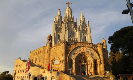 cor: Expiatory Church of the Sacred Heart of Jesus, in Tibidabo Barcelona, Spain Stock Photo