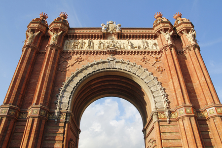 triumph: The Triumph Arch in Barcelona, from 1888 in red brickwork Stock Photo
