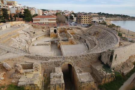 Roman amphitheater in the city of Tarragona, Tarraco during roman empire