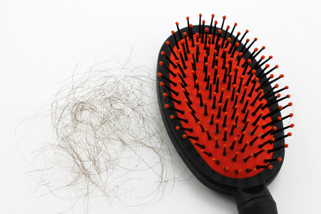 comb hair: Comb with hair loss isolated in a white background