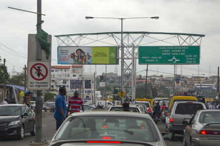 LAGOS, NIGERIA - MAY 11, 2012: Traffic jam and city view of Lagos, the largest city in Nigeria and the African continent. Lagos is one of the fastest growing cities in the world, in Nigeria, on May 11, 2012