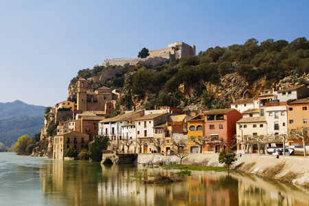 islamic scenery: Miravet is an old little village located in the middle of the Terres de lEbre, in a beautiful landscape between mountains, the River Ebro and a leafy bank forest, in Catalunya, Spain Stock Photo