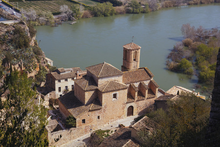 islamic scenery: Miravet is an old little village located in the middle of the Terres del Ebre, in a beautiful landscape between mountains, the River Ebro and a leafy bank forest, in Catalunya, Spain