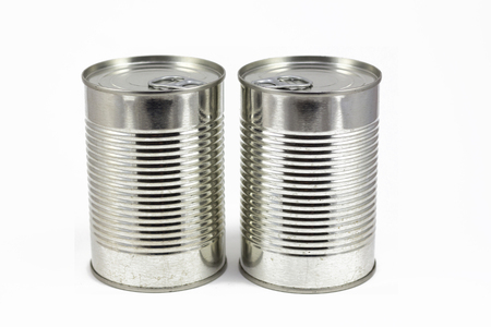 tinned: Can of food, metallic tin isolated in a white background