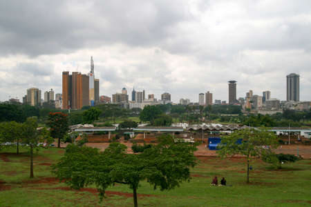 nairobi: NAIROBI, KENYA - JUNE 07, 2009. Public view point of the city of Nairobi, with the cityscape in the background, in a park of the capital of Kenya on June 07, 2009 in Nairobi Editorial