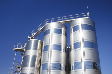 metallic stairs: Stainless steel silos in the industry, for storage