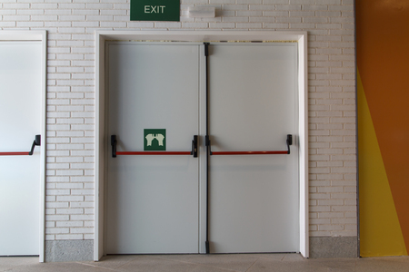 evacuacion: Closed emergency white door, for quick evacuation