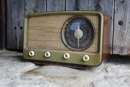 shortwave: Old radio vintage, with a wood background Stock Photo