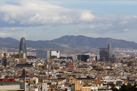 montjuic: Barcelona cityscape shot from Montjuic mountain